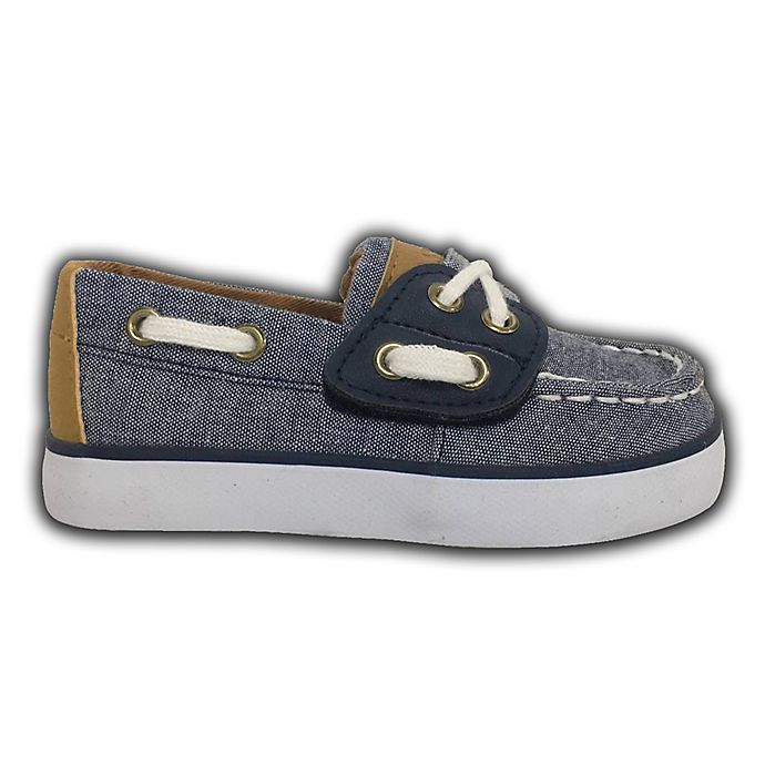 Alternate image 1 for Size 3-6M Two-Tone Boat Shoes in Denim