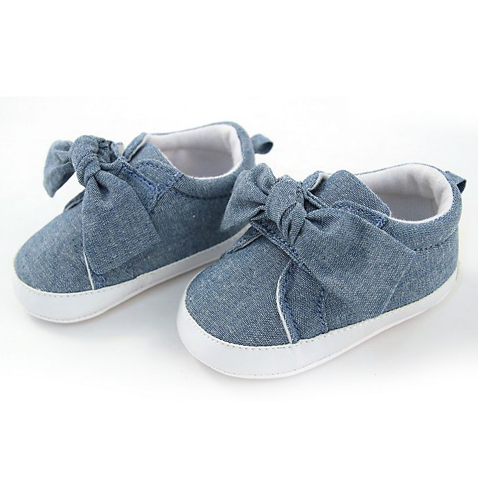 Alternate image 1 for Rising Star™ Chambray Knot Soft Sole Shoes in Blue