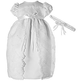 Lauren Madison 2-Piece Split Front Lace Christening Dress and Headband Set