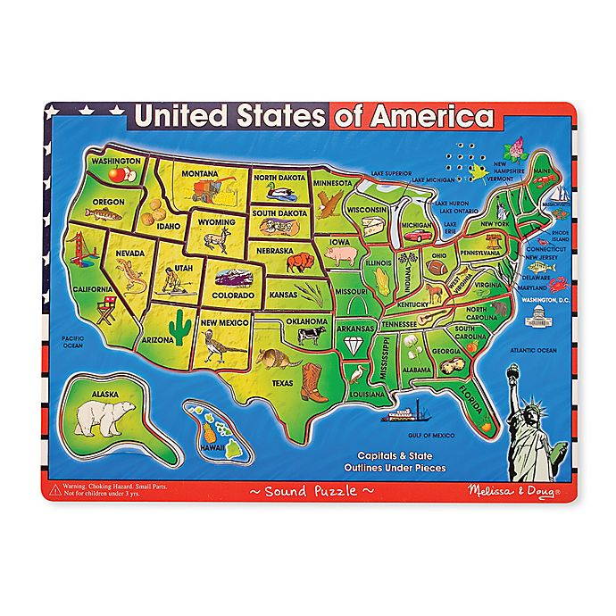 Melissa Doug Deluxe U S A Wooden Map Puzzle With Sound