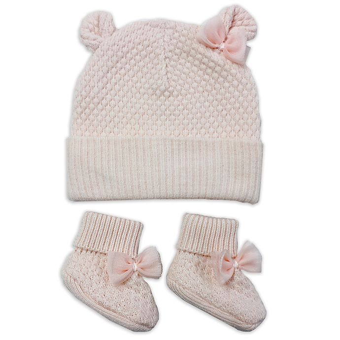 6a99dfcebde NYGB™ 2-Piece Quilted Bear Ear Hat and Bootie Set in Pink