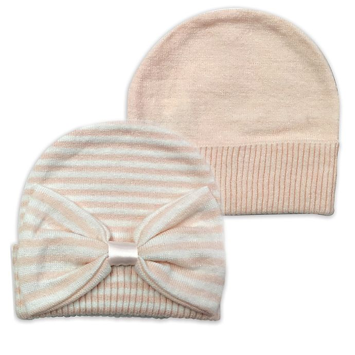 Alternate image 1 for NYGB™ 2-Pack Striped and Solid Knit Hats in Pink