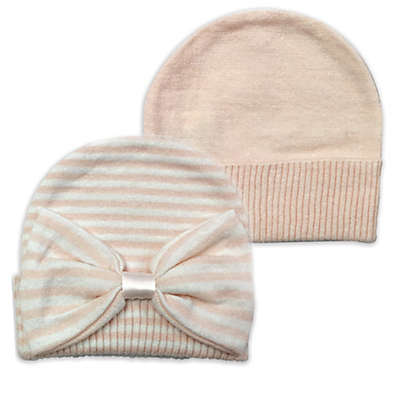 NYGB™ 2-Pack Striped and Solid Knit Hats in Pink