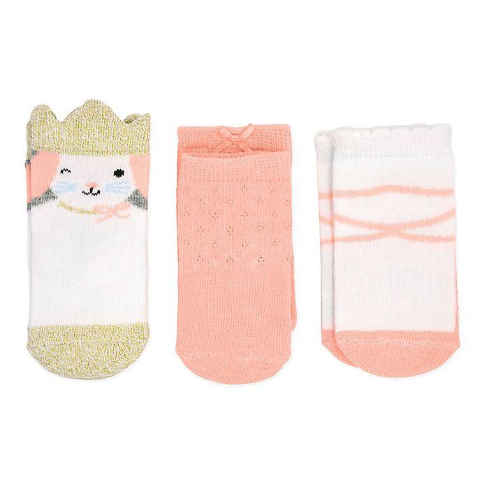 Alternate image 1 for carter's® Size 12-24M 3-Pack Princess Crew Socks