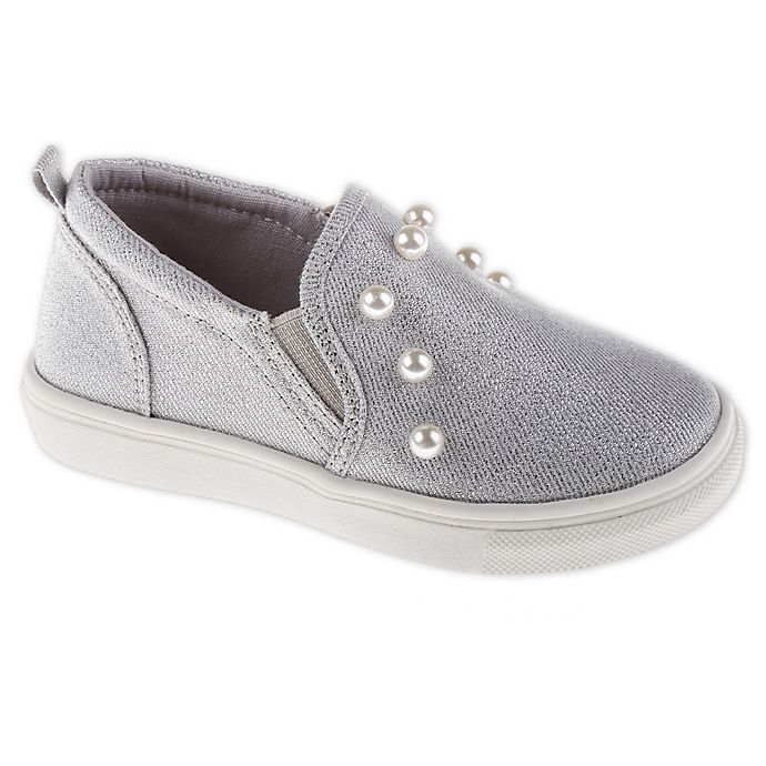 Alternate image 1 for Stepping Stones Slip-On Sneakers in Grey with Faux Pearl Trim