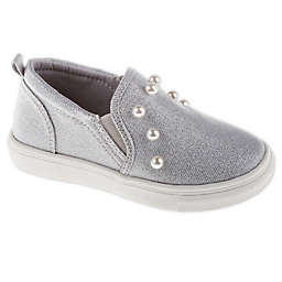 Stepping Stones Slip-On Sneakers in Grey with Faux Pearl Trim