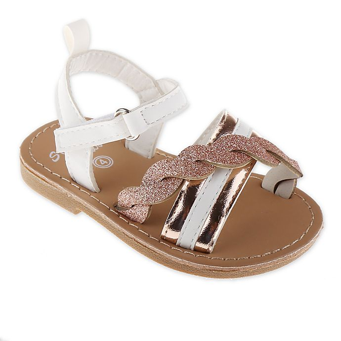 Alternate image 1 for Stepping Stones Size 7 Glitter Sandals in Rose Gold with White Strap