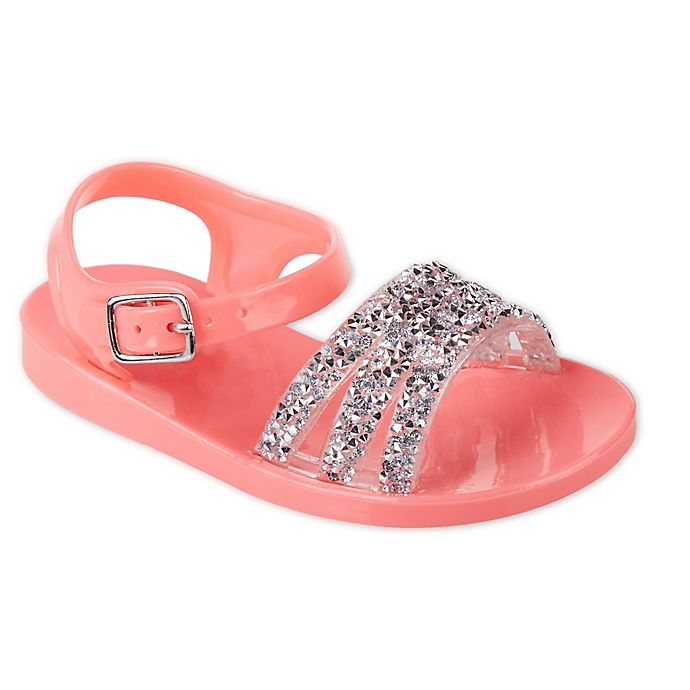 Alternate image 1 for Stepping Stones Size 4 Jeweled Jelly Sandals in Coral