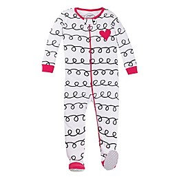 Lamaze® Squiggly Print Organic Cotton Footed Pajama in White