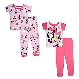 Disney® 4-Piece Minnie Mouse Sitting Pretty Pajama Set in Pink