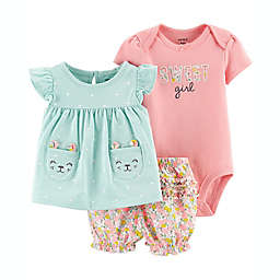 carter's® 3-Piece Cat Pocket Dress, Bodysuit and Diaper Cover Set in Teal