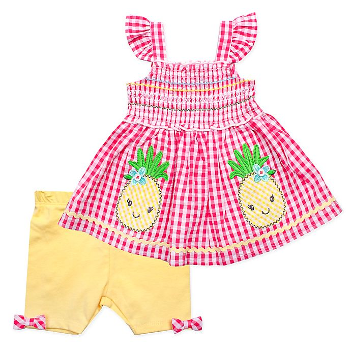 Alternate image 1 for Nannette Baby® 2-Piece Pineapple Dress and Short Set in Coral