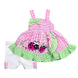 2-Piece Ladybug Tunic and Seersucker Short Set in Pink