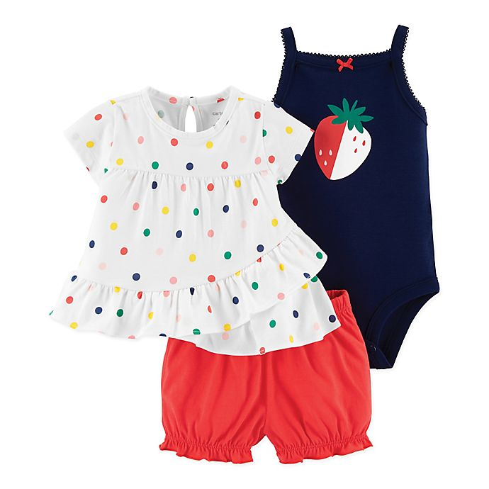 Alternate image 1 for carter's® Size 9M 3-Piece Strawberry Dots Top, Bodysuit and Diaper Cover Set