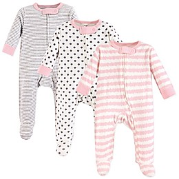 Touched by Nature 3-Pack Organic Cotton Sleep and Play Footies in Pink/Grey