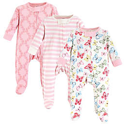 Touched by Nature 3-Pack Organic Cotton Butterfly Sleep and Play Footies