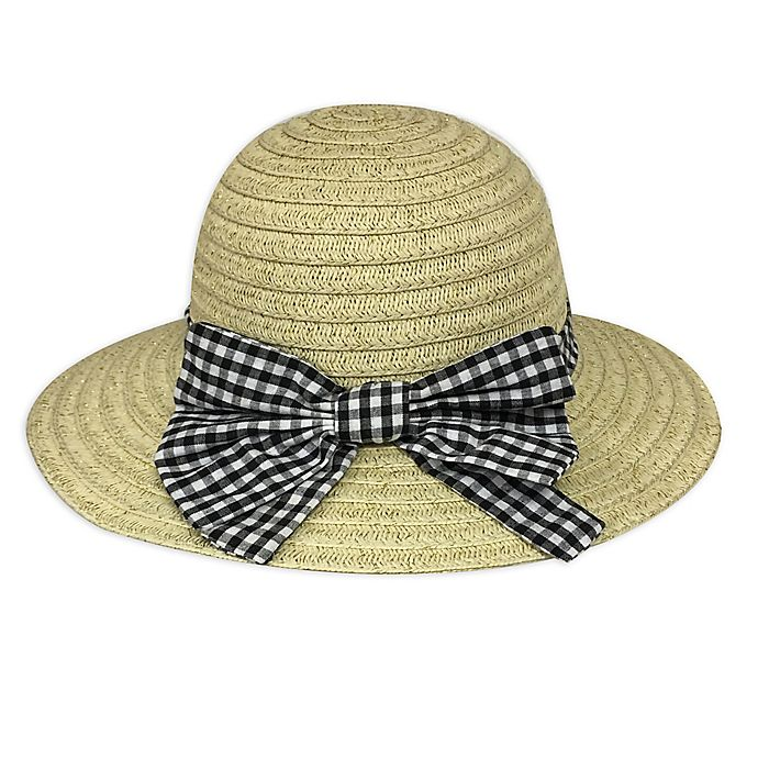 Alternate image 1 for Toby Fairy™ Newborn Gingham Bow Floppy Hat in Black