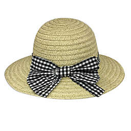Toby Fairy™ Newborn Gingham Bow Floppy Hat in Black