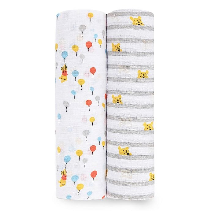 Alternate image 1 for aden® by aden + anais® Disney® 2-Pack Winnie Swaddle Blankets in Yellow