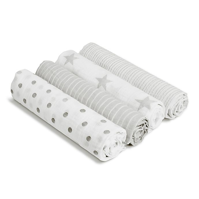 Alternate image 1 for aden® by aden + anais® Dusty 4-Pack Cotton Muslin Swaddle Blankets in Grey