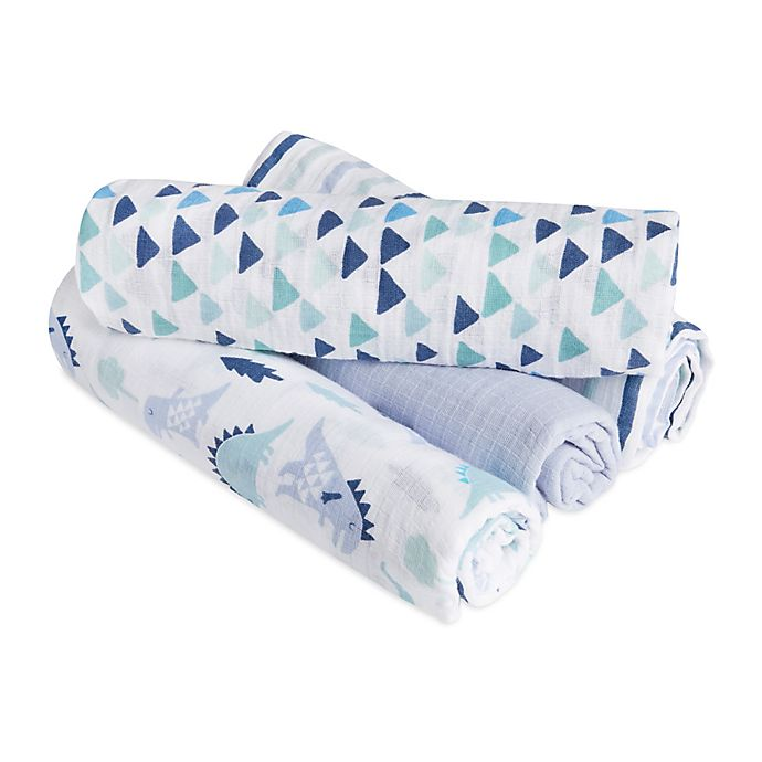 Alternate image 1 for aden® by aden + anais® Dinos 4-Pack Cotton Muslin Swaddle Blankets in Blue