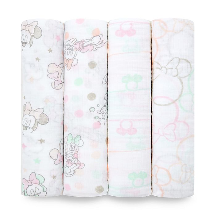 Alternate image 1 for aden® by aden + anais® Disney Minnie 4-Pack Cotton Muslin Swaddle Blankets in Pink