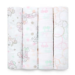 aden® by aden + anais® Disney Minnie 4-Pack Cotton Muslin Swaddle Blankets in Pink