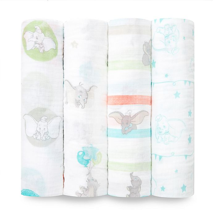 Alternate image 1 for aden® by aden + anais® Disney Dumbo 4-Pack Cotton Muslin Swaddle Blankets in Grey