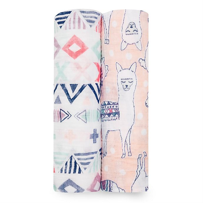 Alternate image 1 for aden + anais® Trail Blooms 2-Pack Swaddle Blankets in Pink