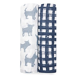 aden + anais® Waverly 2-Pack Swaddle Blankets in Blue