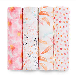 aden + anais® Petal Blooms 4-Pack Swaddle Blankets in Pink