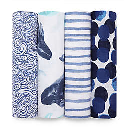 aden + anais® Seafaring 4-Pack Swaddle Blankets in Blue