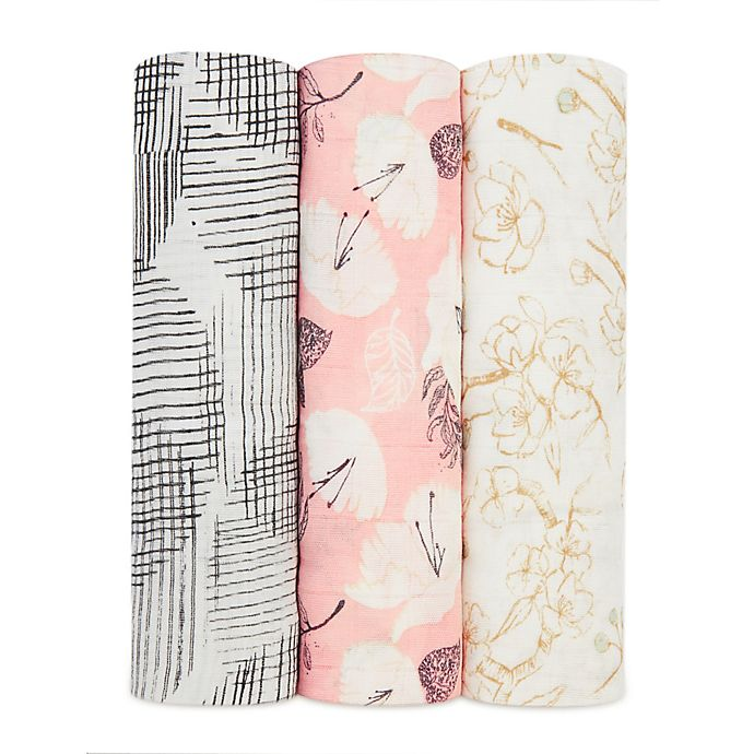 Alternate image 1 for aden + anais® Pretty Petals 3-Pack Swaddle Blankets in Pink