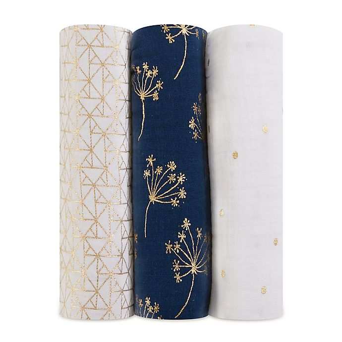 Alternate image 1 for aden + anais® 3-Pack Cotton Muslin Swaddle Blankets in Metallic Gold