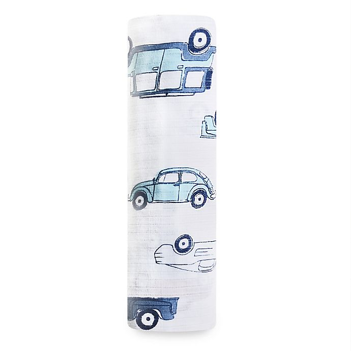 Alternate image 1 for aden + anais® Hit The Road Swaddle Blanket in Blue