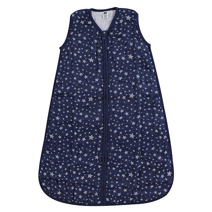 Alternate image 1 for Hudson Baby® Stars Muslin Sleeping Bag in Silver/Navy