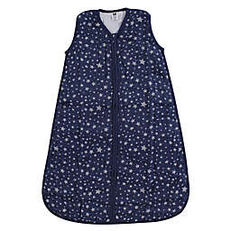 Hudson Baby® Size 0-6M Stars Muslin Sleeping Bag in Silver/Navy