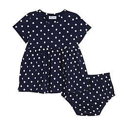 Splendid® 2-Piece Polka Dot Dress and Diaper Cover Set in Navy