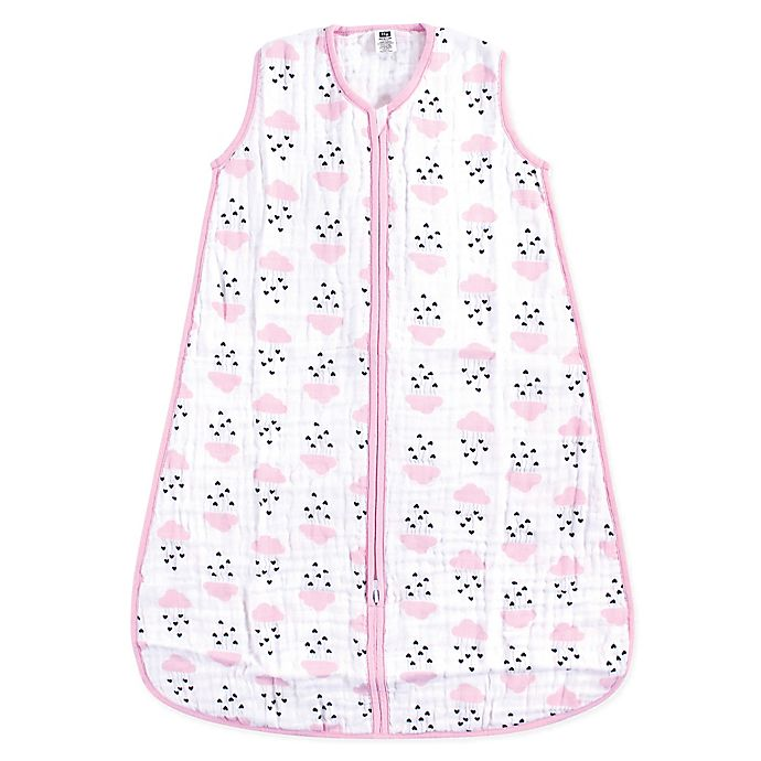 the latest fcc46 d25ad Hudson Baby® Clouds & Hearts Muslin Sleeping Bag in Pink ...