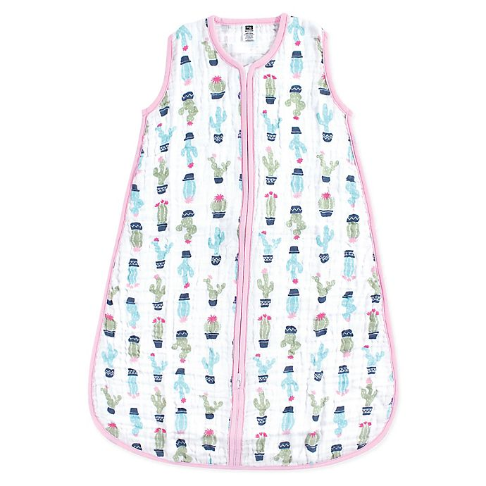 Alternate image 1 for Hudson Baby® Cactus Muslin Sleeping Bag in Green/Pink