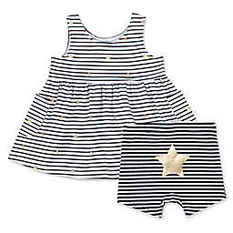 Aimee Kestenberg® 2-Piece Stripe Stars Dress and Short Set in Black