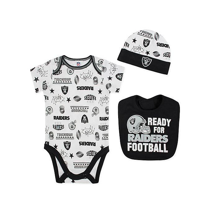 Alternate image 1 for NFL Raiders 3-Piece Bodysuit Set