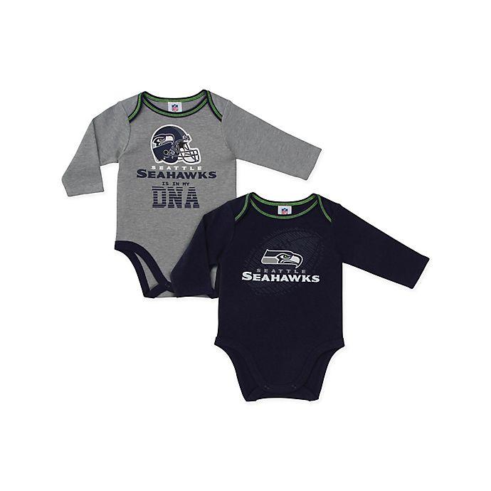 Alternate image 1 for NFL Seattle Seahawks 2-Pack Boy Long-Sleeve Bodysuit Set
