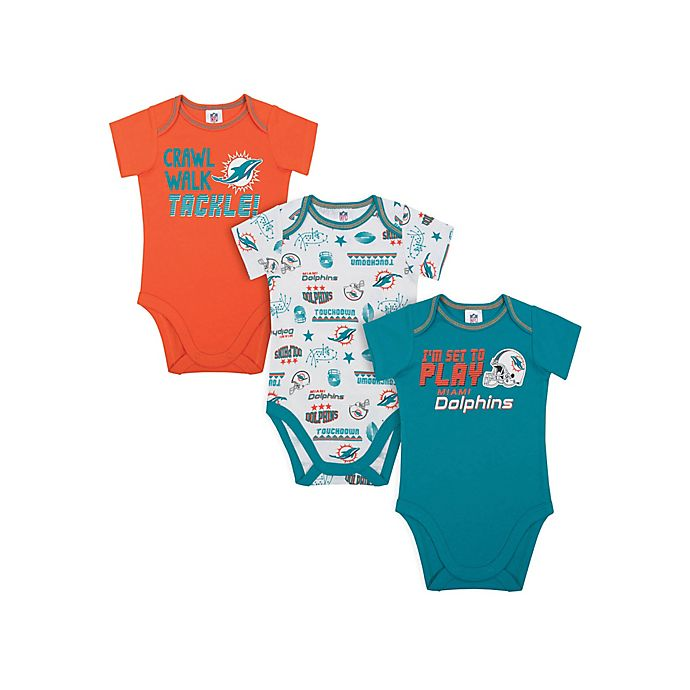 Alternate image 1 for NFL Dolphin 3-Piece Bodysuit