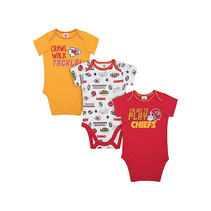 Alternate image 1 for NFL Chiefs 3-Pack Bodysuits