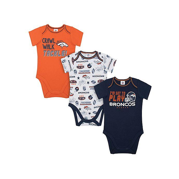 Alternate image 1 for NFL Broncos 3-Pack Bodysuits