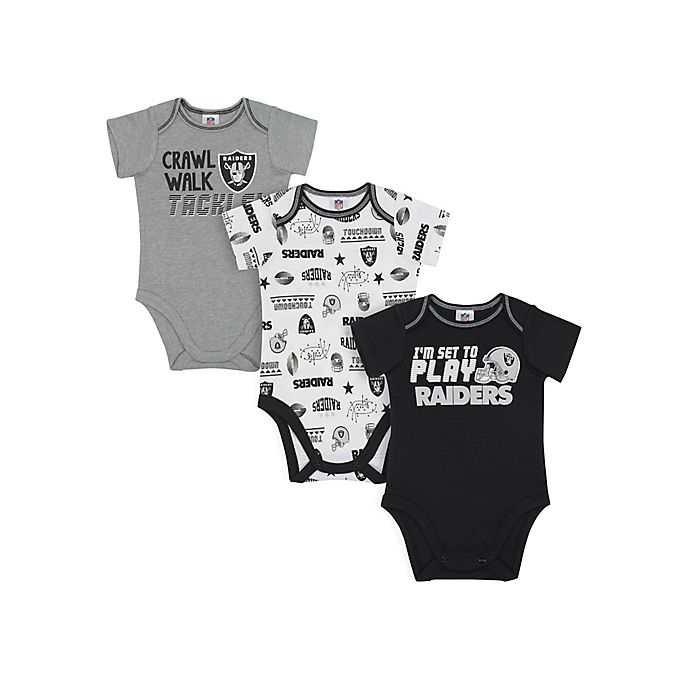 Alternate image 1 for NFL Las Vegas Raiders 18 M 3-Pack Bodysuits