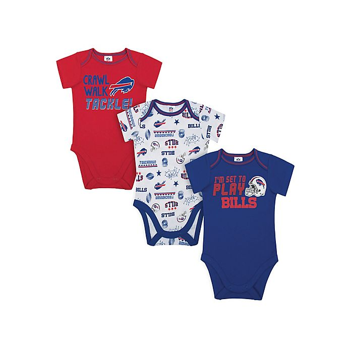 Alternate image 1 for NFL Buffalo Bills Size 18M 3-Pack Short Sleeve Bodysuits