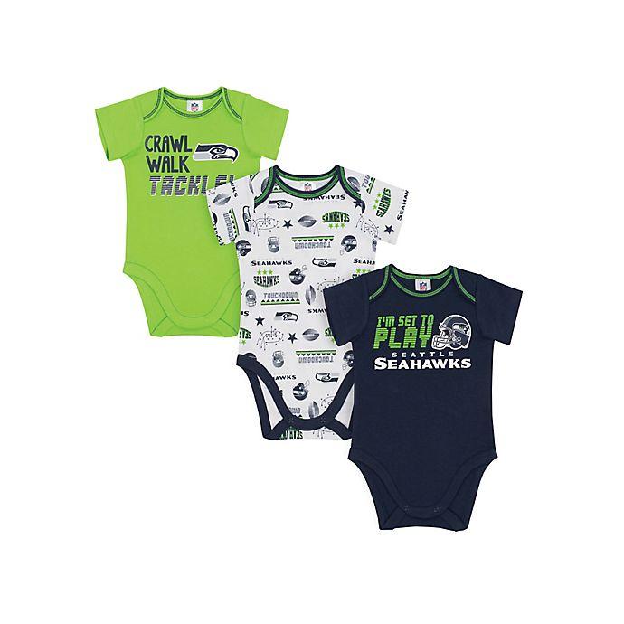 Alternate image 1 for NFL Seattle Seahawks Size 18M 3-Pack Short Sleeve Bodysuits