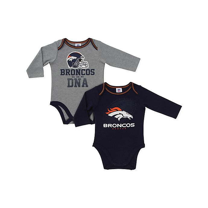 Alternate image 1 for NFL Denver Broncos 2-Pack Boy Long-Sleeve Bodysuit Set